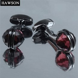 gun ornament Australia - HAWSON Cufflinks Fashionable & Stylish Gun Plated Crystal Inlaid for French Cuffs Shirts 4 Colors Accessories Ornament SH190925