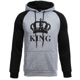 Wholesale cute hoodie men resale online - Fashion Couples King and Queen Hoodies Valentine New Multi Colors Matching Cute Love Couples Cotton Clothes