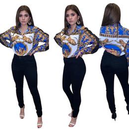 Venta al por mayor de 2019 nuevo patrón de marca impreso para mujer Blusas de manga larga solapa del cuello de las señoras remata camisetas Primavera mujeres del estilo americano y americano Camisas