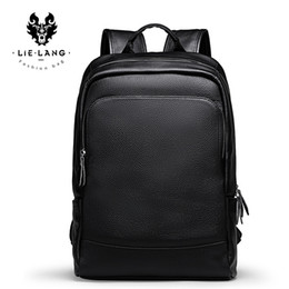 Discount leather backpack computer bag - JIULINman's Backpack Simple High Quality Leather Backpack Male Leather Fashion Trend Youth Leisure Travel Computer