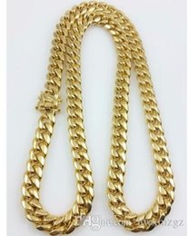 "$enCountryForm.capitalKeyWord UK - Men 18k Yellow Gold Stainless Steel 12mm 24"" Miami Cuban Curb Link Chain"