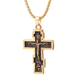 inri crucifix pendant 2019 - 2019 Cross Necklace Orthodox Church Christian Jewelry Alloy Gold Color INRI Crucifix Cross Pendant Necklace Men Collares