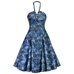 Rockabilly Pin Up UK - Summer Vintage Blue Plus Size Elegant Sexy Party Women Dresses Retro Strapless Serpentine Print Female Pin Up Rockabilly Dress
