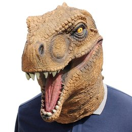 Discount covers for dresses - Halloween Mask Fancy Emulsion Dress Party Props Dinosaur Headgear Head Cover for Men and Women (Dinosaur)