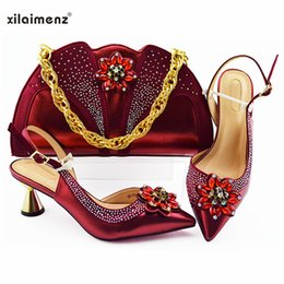 Discount highest quality wine - Classics Style Shoes and Bag Sets Wine Color African Shoes with Matching Bags High Quality Women and Bag To Match for Pa