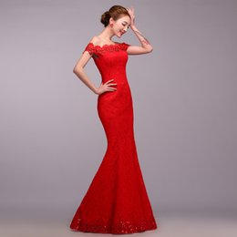 ToasT cloThing online shopping - 2019 Beading Diamond Slim gown dress Red stitching embroidery hollow cut bride toast clothing Strapless long cheongsam W887