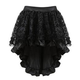 plus size burlesque dresses 2019 - 3 Colors Sapubonva Multilayer Lace Victorian Burlesque Costumes Gothic Steampunk Clothing Ruffled Chiffon Skirt Zipper D