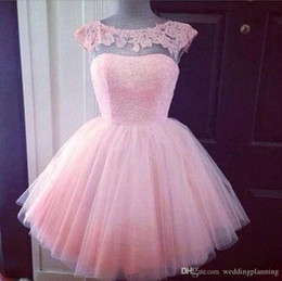 Cute Lace Homecoming Dresses Australia - Cute Short Formal Prom Dresses Pink High Neck See Through Cheap Junior Girls Graduation Party Dresses Prom Homecoming Gowns