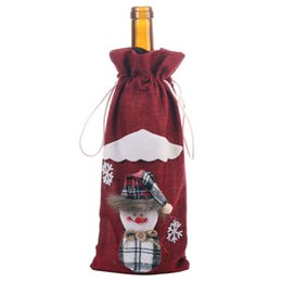 small bottle wine NZ - Christmas Decorations Dining Table Wine Bottle Decoration Burlap Snowman Bottle Cover Small Decorations Removable