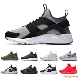 cheap purple shoes for men Canada - Cheap Grey Huarache 4.0 mens Running shoes for men women Triple black white red huaraches 1.0 outdoor Sports Sneakers trainers 36-45