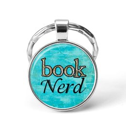 nerd glasses Australia - Book Nerd Letters Key Chain With Cabochon Glass For Woman Man Best Gift Dropship