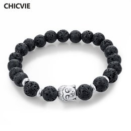 Buddha Jewelry For Women NZ - bracelets for CHICVIE Natural Stone Bead Buddha Bracelets for Women Men Silver Black Lava Love Jewelry With Stones Femme Meditation Bracelet