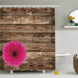 $enCountryForm.capitalKeyWord Australia - Rustic Home Decor Shower Curtain Set, Pink Daisy Blossom on Vintage Wood Wall Picture Gerbera Flower Farm Country Style, Bathroom Accessorie