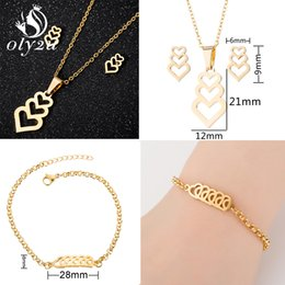 $enCountryForm.capitalKeyWord Australia - Oly2u Gold Heart Bridal Jewelry Sets For Women Stainless Steel Necklaces Stud Earrings Set Fashion Jewelry collier femme 2019
