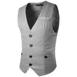 Wholesale gentleman vest resale online - Men Vest spring men s fashion chest decoration button gentleman suit vest pocket buckle modification coat
