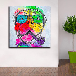 $enCountryForm.capitalKeyWord Australia - 1 Piece Colorful Ocean Large Abstract Poster Canvas Art Rainbow Bullmastiff Oil Painting Wall Pictures For Living Room Modern No Framed