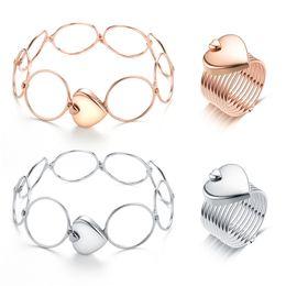Diamond Heart Silver Bracelet Australia - Fashion Love Heart Folding Telescopic Ring Dual-use Bracelet Ring Adjustable Rose Gold Silver Ring for Woman Bracelet Wedding Party