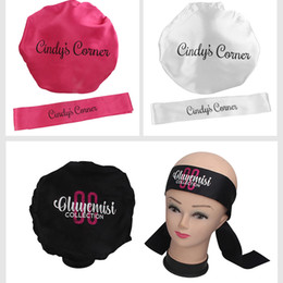 Wholesale Customized logo brand name Hair Care Bonnet Nightcap Satin   silk Frontal Head Wrap Edge headband Scraf   Virgin satin silk bags
