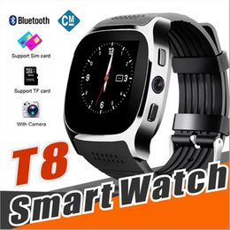Bluetooth Smart Watch Sim Australia - 10X For apple iPhone android T8 Bluetooth Smart watch Pedometer SIM TF Card With Camera Sync Call Message Smartwatch pk DZ09 U8 Q18 fitbit