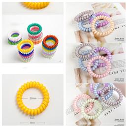 $enCountryForm.capitalKeyWord Australia - 26 colors Telephone Wire Cord Gum Hair Tie 6.5cm Girls Elastic HairBand Ring Rope Candy Color Bracelet Hair Accessories T2C5049