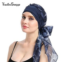 boho hair wraps Australia - New Women Chemo Headwear Turbans Long Hair Head Scarf Head wraps Cancer Hats Boho Pre-Tied Bandana Hair accessories for Women