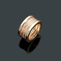 Golds Gear Australia - Gear Titanium Stainless Steel 3 Rows Rhinestone Rings,18K Gold Rose Gold Platinum Plated Women Men Wedding Band Luxury Jewelry