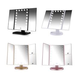 Pantalla táctil LED 21 Maquillaje de luz Mesa de espejo Maquillaje de escritorio 1X / 2X / 3X / 10X Espejos de aumento Vanity 3 espejo ajustable plegable BH370