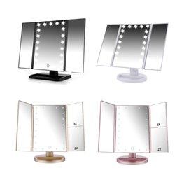 Tela Sensível Ao Toque de LED 21 Maquiagem Leve Mesa de Espelho de Mesa de Maquiagem 1X / 2X / 3X / 10X Espelhos de aumento Da Vaidade 3 Dobrável Espelho Ajustável BH370