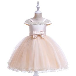 kids princess dress pearl lace Australia - New 2020 pearl girls dresses lace party girls dress bows kids dresses formal dresses kids princess dress big kids clothes retail B454