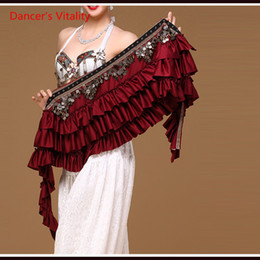 Discount gypsies clothing - New Ethnic Belly Dance Clothes Gypsy Costume Accessories Cape With fringe Coins Straps Hips Scarf Belt For Belly Dance