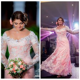 $enCountryForm.capitalKeyWord NZ - 2019 Indian Mermaid Lace Appliques Wedding Dresses Modest Scoop Lace Appliques Pearls Chain Low Back Custom Made Plus Size Bridal Gowns