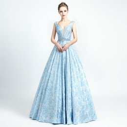 sexy cocktail dresses images Australia - 2019 Robe De Soiree Sexy New Arrivals Sky Blue Luxury Evening Dresses Actual Image Open Back Crystal Beading Gowns 5133