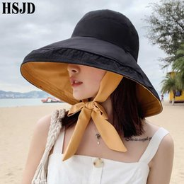 hat female beach NZ - New Bandage Bow Double-Sided Summer Sun Hats For Women Solid Color Large Wide Brim Foldable Anti-UV Beach Hat Female Caps Bonnet
