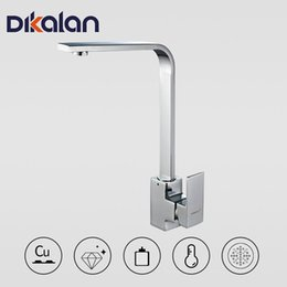 modern kitchen faucets NZ - Dikalan Kitchen Faucet Modern Style Deck Mounted Hot and Cold Water Kitchen Faucet Mixer Tap 360 Degree Rotation 4056