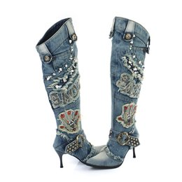 Discount long boots thin heels - Women Vintage Thin High Heel Pointed Toe Denim Buckle Crystal Rivets Over The Knee Autumn Winter Jeans Long Boots, B002