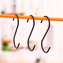 $enCountryForm.capitalKeyWord Australia - 3 pcs Lot Black S Shaped Hooks Durable Hanger Holder Stainless Steel Hanging Sling Clasp Home Stroage Racks