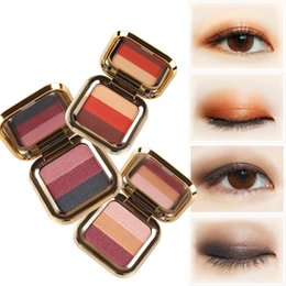 rose eye shadow 2019 - Waterproof Stereo Lasting Natural Makeup Eyeshadow Plate Pearl Light Matte Light with Three Color Gradient Lazy Eye Shad