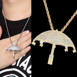 umbrella rope Canada - New guys Fashion White Gold Plated Bling Cubic Zirconia Umbrella Pendant Necklace Hip Hop personalized Jewelry Bijoux Gift for Men Women