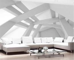 Venta al por mayor de Modelo de encargo de la foto del papel pintado 3D moderna del arte abstracto geométrico pintura de pared de fondo vida sofá de pared para TV de papel mural 3D