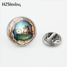 $enCountryForm.capitalKeyWord Australia - 2019 New Funny Squirrel Pin Silver Stainless Steel Little Squirrels Painting Lapel Pin Glass Cabochon Hand Craft Jewelry