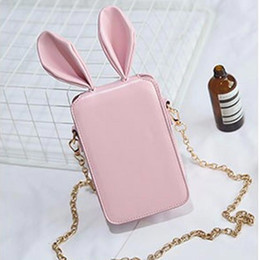 Discount small ear phones - Fashion Lady Crossbody Bag Ears Mobile Phone Bags Shoulder Slung Cartoon Cute Small Bags Chain Small Square DJB-38