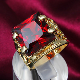 Band ruBies ring online shopping - Sparkling Square Cut Ring Thick Ruby k Yellow Gold Filled Womens Mens Ring Band Size