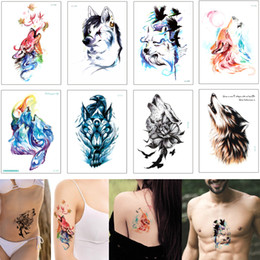 Tattoo Sticker For Hand Women Australia - Colored Drawing Animal Waterproof Temporary Body Art Tattoo Sticker Wolf Maple Leaf Crow Flower Forest Design Tattoo Decal for Woman Man Arm