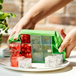 Ice Block Trays Australia - 15 Grids Ice Cube Tray 6 Colors Ice Block Maker Bar Kitchen Supplies Silicone Ice Tray Maker 20 Pieces DHL