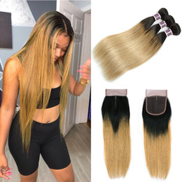 Discount honey hair color - Peruvian Malaysian Brazilian Virgin Straight Hair 1b 27 With Closure Ombre Hair Bundles With Closure 1B 27 Honey Blonde