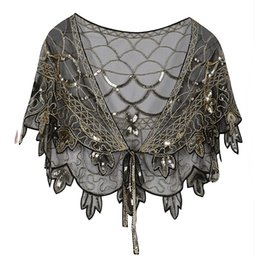 $enCountryForm.capitalKeyWord UK - Vintage 1920s Flapper Shawl Sequin Beaded Short Cape Beaded Decoration Gatsby Party Mesh Short Cover Up Dress Accessory