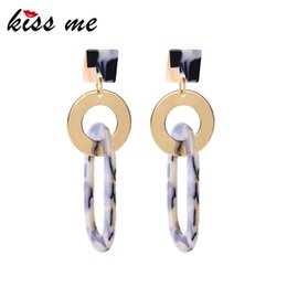 $enCountryForm.capitalKeyWord NZ - Geometric Round&square Acrylic Sheet Drop Earrings For Women Gifts 2019 Nested Brass Dangle Earrings Fashion Accessories