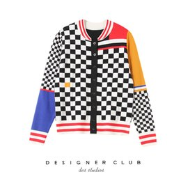 2019 Womens Sweaters Knitting Cardigan Female Small Fresh College Wind  Black And White Lattice Spelling Color Short Loose Coat bb3d375c2