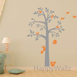 Squirrel Wall Stickers Australia - Baby Nursery Tree Wall Sticker House Squirrel Birds Tree Wall Decal Kids Room DIY Children Decors Tree Shelf Hot Sale T44
