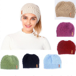 $enCountryForm.capitalKeyWord Australia - Winter Knits Cap Baggy Warm Crochet Girl Pony Tail Hat Autumn Ear Protection Wool Caps Knit Beanie Skull Slouchy Caps Empty Top Hats Fashion